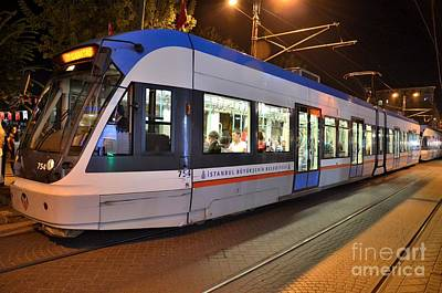 Istanbul Tram At Night Art Print by Imran Ahmed