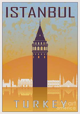 European City Digital Art - Istanbul Vintage Poster by Pablo Romero