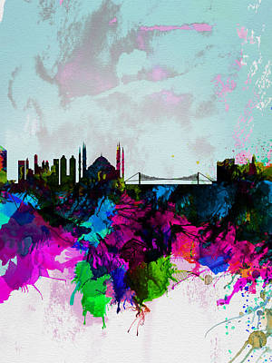 Turkey Painting - Istanbul Watercolor Skyline by Naxart Studio