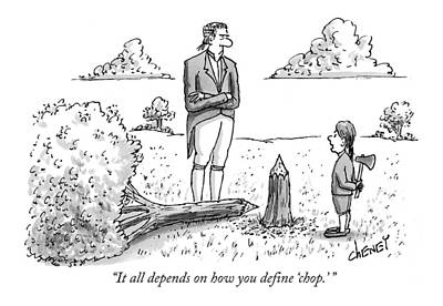 Cherry Drawing - It All Depends On How You Define 'chop.' by Tom Cheney
