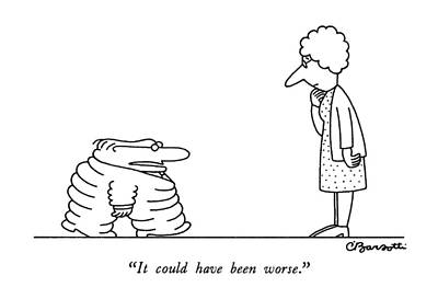 Flattened Drawing - It Could Have Been Worse by Charles Barsotti