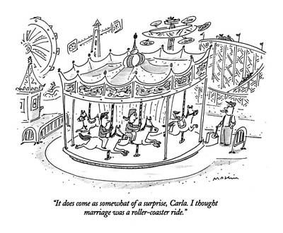 Merry-go-round Drawing - It Does Come As Somewhat Of A Surprise by Michael Maslin