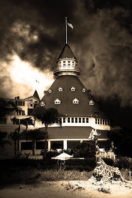 Science Fiction Photograph - It Happened One Night At The Old Del Coronado Hotel 5d24270 Sepia by Wingsdomain Art and Photography