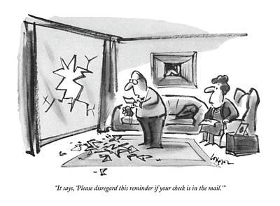 Debt Drawing - It Says, 'please Disregard This Reminder If by Lee Lorenz