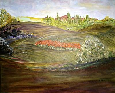 Tuscan Hills Painting - It Takes A Tuscan Village by Sara Credito