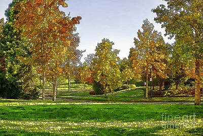 Park Scene Digital Art - It Was A Sunny Day In The Park-2 by Nancy Marie Ricketts