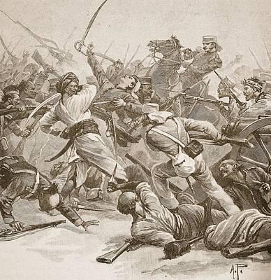 Delhi Drawing - It Was Bayonet To Bayonet, Illustration by Alfred Pearse