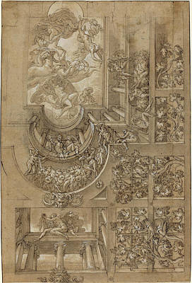 Italian 16th Century, Illusionistic Ceiling With A Grape Art Print by Quint Lox