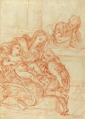 Italian 17th Century, Madonna And Child With Saints John Art Print