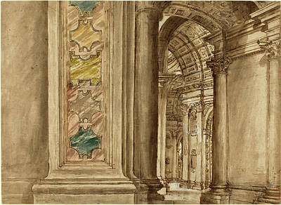 Wash Drawing - Italian 17th Century, The Interior Of Saint Peters by Litz Collection