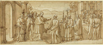 Wash Drawing - Italian 17th Century, The Meeting Of San Carlo Borromeo by Quint Lox