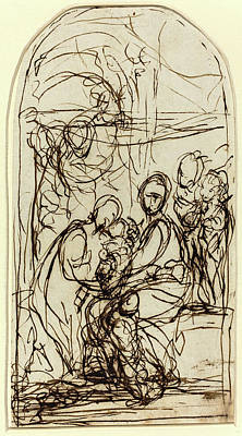 Mystic Drawing - Italian 17th Century, The Mystic Marriage Of Saint Catherine by Litz Collection