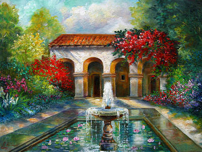 Italian Abbey Garden Scene With Fountain Original by Regina Femrite