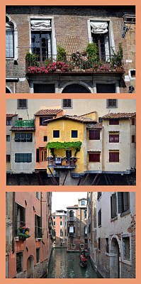 Photograph - Italian Balcony Triptych. by Terence Davis