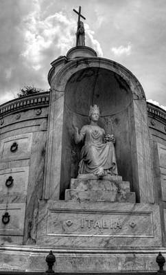 Photograph - Italian  Benevolent Society Tomb In Black And White by Chrystal Mimbs