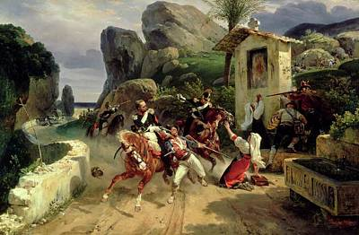Surprise Painting - Italian Brigands Surprised By Papal Troops by Emile Jean Horace Vernet