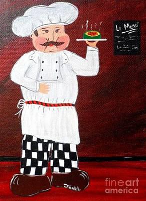 Italian Wine Painting - Italian Chef 2 by JoNeL Art