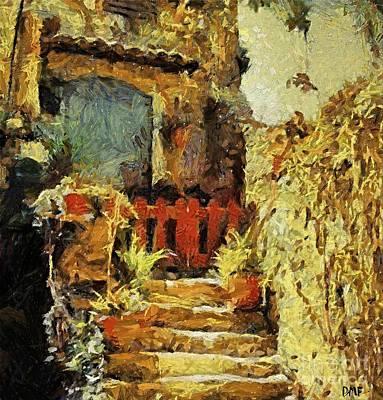 Italian Courtyard Art Print by Dragica  Micki Fortuna