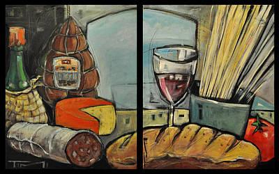 Italian Wine Painting - Italian Deli Diptych by Tim Nyberg