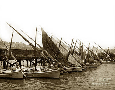 Photograph - Italian Fishing Boats Fishermen's Wharf San Francisco Circa 1903 by California Views Archives Mr Pat Hathaway Archives