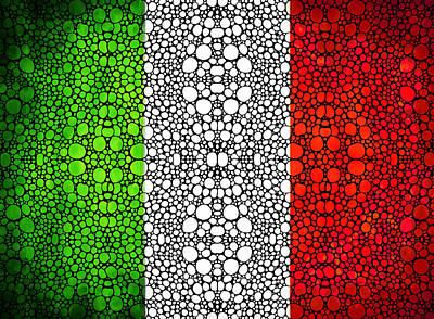 Italian Flag - Italy Stone Rock'd Art By Sharon Cummings Italia Art Print by Sharon Cummings