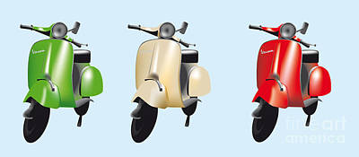 Digital Art - Italian Flag Vespa by IPics Photography
