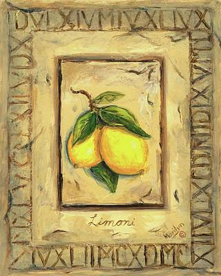 Plaque Painting - Italian Fruit Lemons by Marilyn Dunlap
