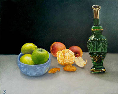 Italian Glass Decanter With Fruit Original by Jane Baghori