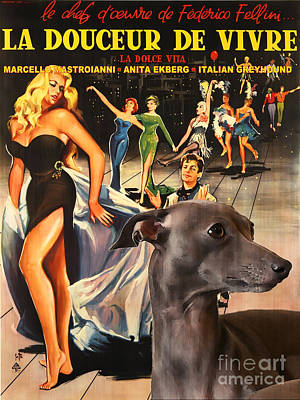 Painting - Italian Greyhound Art - La Dolce Vita Movie Poster by Sandra Sij