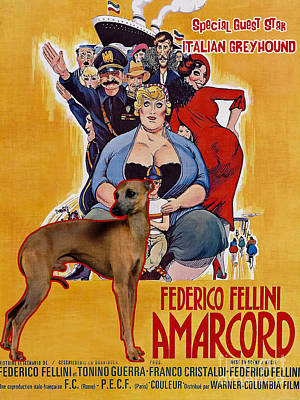 Painting - Italian Greyhound Art Canvas Print - Amarcord Movie Poster by Sandra Sij