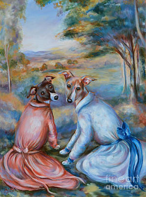Italian Greyhounds Renoir Style Art Print