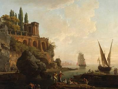 Italian Harbor Painting - Italian Harbor Scene by Vernet