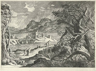 Italian Landscapes Drawing - Italian Landscape In The Storm, Willem Van De Lande by Willem Van De Lande And Adriaen Van Nieulandt (i)