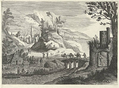 Italian Landscapes Drawing - Italian Landscape With A City, Willem Van De Lande by Willem Van De Lande And Adriaen Van Nieulandt (i)