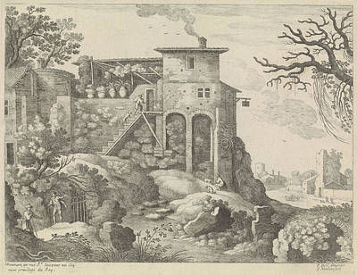 Italian Landscapes Drawing - Italian Landscape With An Inn, Willem Van Nieulandt II by Willem Van Nieulandt (ii) And H. Bonnart