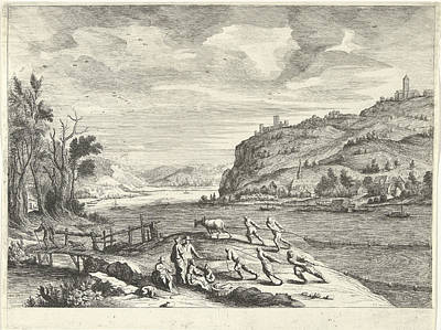Italian Landscapes Drawing - Italian Landscape With Fishermen, Print Maker Willem Van De by Willem Van De Lande And Adriaen Van Nieulandt I