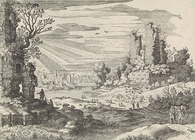 Italian Landscapes Drawing - Italian Landscape With Tobias And The Angel by William Of Nieulandt Ii And H. Bonnart