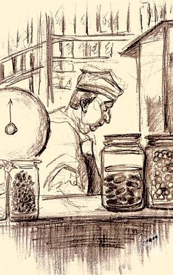 Country Store Drawing - Italian Market by Mary Fanning