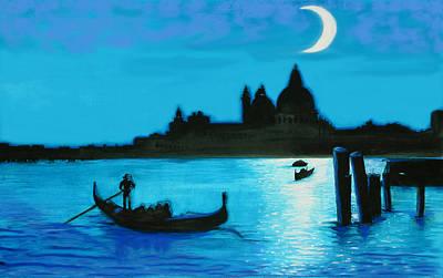 Italian Postcard-venetian Moon Art Print by Susi Franco