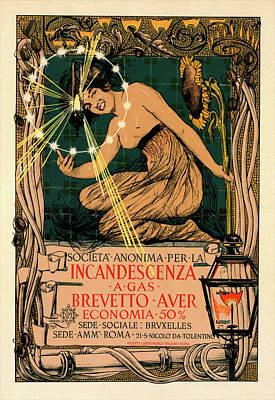 Gaz Drawing - Italian Poster For L Incandescence Par Le Gaz by Liszt Collection