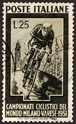 Photograph - Italian Racing Bicyclist On Postage Stamp  by Phil Cardamone