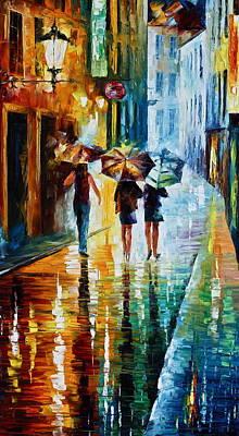 Italian Rain Art Print by Leonid Afremov
