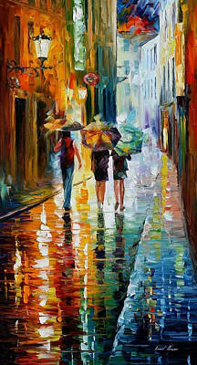 Italian Rain - Palette Knife Oil Painting On Canvas By Leonid Afremov Original by Leonid Afremov