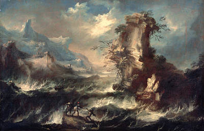 Italian Seascape With Rocks And Figures Art Print by Marco Ricci
