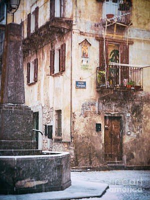 Photograph - Italian Square In  Snow by Silvia Ganora