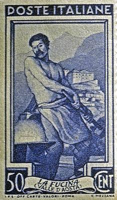 Italian Stamp - Circa 1955  Art Print by Bill Owen