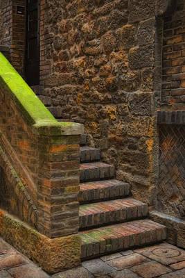 Photograph - Italian Stone Staircase by Bob Coates