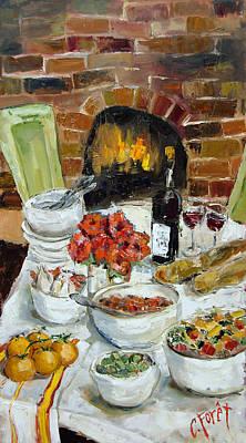 Italian Wine Painting - Italian Table by Carole Foret