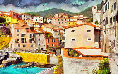 Cafe Painting - Italian Village by George Rossidis
