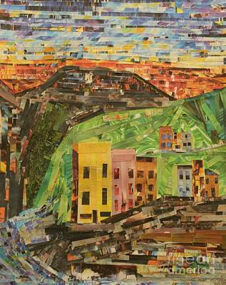 Mountain Sunset Mixed Media - Italian Village by Mary Chris Hines